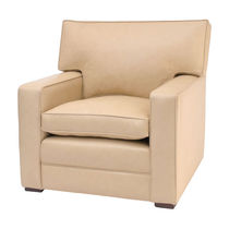 Contemporary armchair / fabric / beige