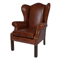 Traditional armchair / leather / wing / brown