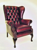 Classic armchair / leather / wing