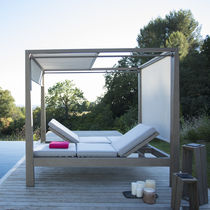 Contemporary sun lounger / Batyline® / teak / commercial