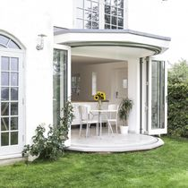 Sliding patio door / folding / wooden / insulated
