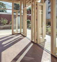 Sliding and stacking patio door / wooden / double-glazed