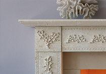 Traditional fireplace mantel / limestone