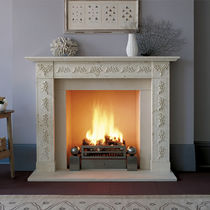 Traditional fireplace mantel / limestone / 1-sided