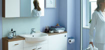 Built-in washbasin / oval / contemporary / with adjustable mirror