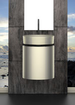 Wall-hung washbasin cabinet / metal / contemporary