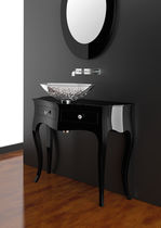 Laminate washbasin cabinet / classic / with mirror