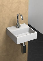 Wall-mounted hand basin / square / ceramic