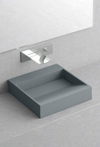 Countertop hand basin / square / ceramic