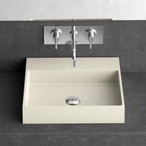 Countertop hand basin / rectangular / ceramic