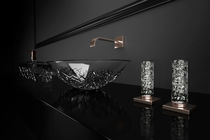 Double-handle washbasin mixer tap / free-standing / crystal / bathroom