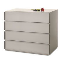 Contemporary chest of drawers / lacquered wood / lacquered MDF / sheet metal