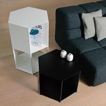 Contemporary bedside table / aluminum / hexagonal / by Studio Nendo