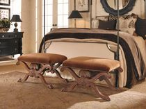 Classic upholstered bench / wood / brown