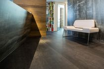 Wood fiber wallcovering / residential / high-gloss / metal look