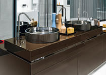 Countertop washbasin / round / stainless steel / steel