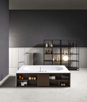 Free-standing bathtub / Solid Surface / wooden