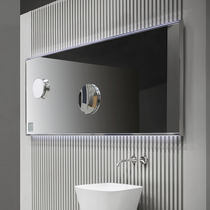 Wall-mounted bathroom mirror / LED-illuminated / magnifying / with integrated clock