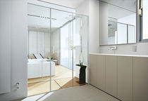 Glass shower / rectangular / with sliding door