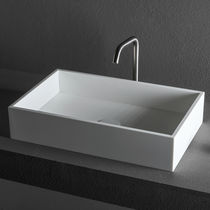 Countertop washbasin / rectangular / steel / Corian®