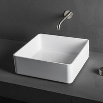 Countertop washbasin / square / composite / contemporary