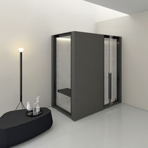 Steam shower cubicle / glass / corner / with pivot door