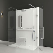 Glass shower cubicle / rectangular / with hinged door