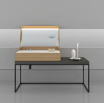 Countertop washbasin / rectangular / stainless steel / wooden