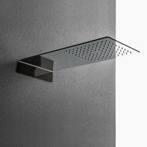 Wall-mounted shower head / rectangular / waterfall / with chromotherapy