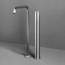 Washbasin mixer tap / floor-mounted / stainless steel / bathroom