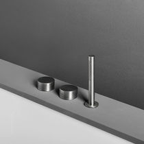 Double-handle bathtub mixer tap / deck-mounted / stainless steel / bathroom