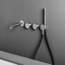 Double-handle shower mixer tap / built-in / stainless steel / bathroom