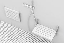 Folding shower seat / stainless steel / wooden / wall-mounted