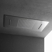 Recessed ceiling shower head / rectangular / waterfall / with chromotherapy
