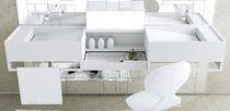 Double washbasin / wall-mounted / rectangular / Corian®