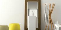 Wall-mounted bathroom mirror / contemporary / rectangular / wooden
