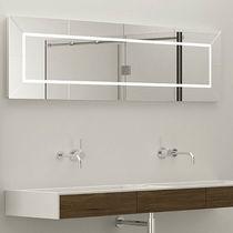 Wall-mounted mirror / contemporary / rectangular / illuminated