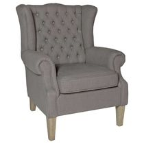 Traditional armchair / fabric / wing