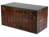Contemporary coffee table / patinated metal / copper / rectangular