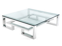 Contemporary coffee table / glass / stainless steel / square
