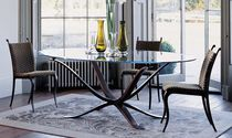 Traditional dining table / glass / bronze / oval