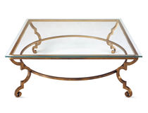 Traditional coffee table / glass / metal / rectangular