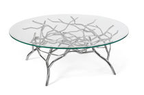 Contemporary coffee table / glass / stainless steel / round