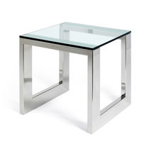 Contemporary side table / glass / stainless steel / rectangular