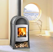 Wood boiler stove / contemporary / metal