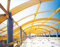 Glue-laminated wood beam / rectangular / arched