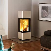 Wood heating stove / contemporary / corner / metal
