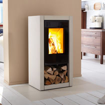 Wood heating stove / contemporary / metal / stone