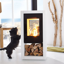 Wood heating stove / contemporary / central / double-sided