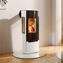 Wood heating stove / contemporary / 3-sided / metal